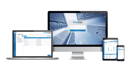 EthosData dataroom - computer screen frame